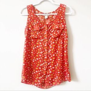 Love Notes Sleeveless Floral Tank Size Small